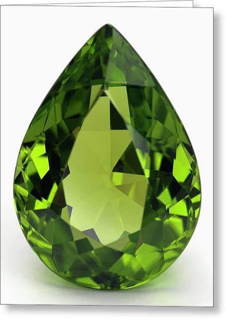Cut Peridot Gemstone Greeting Card by Dorling Kindersley/uig