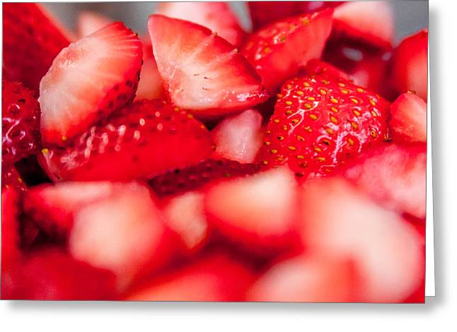 Cut Strawberries Greeting Card by Todd Soderstrom