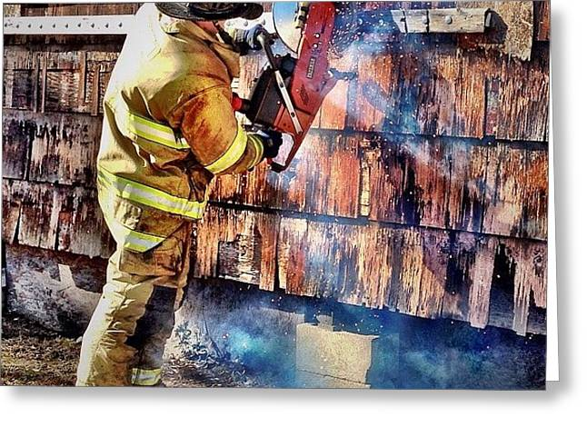 Cut Work #firefighter #saw #fire #jifd Greeting Card
