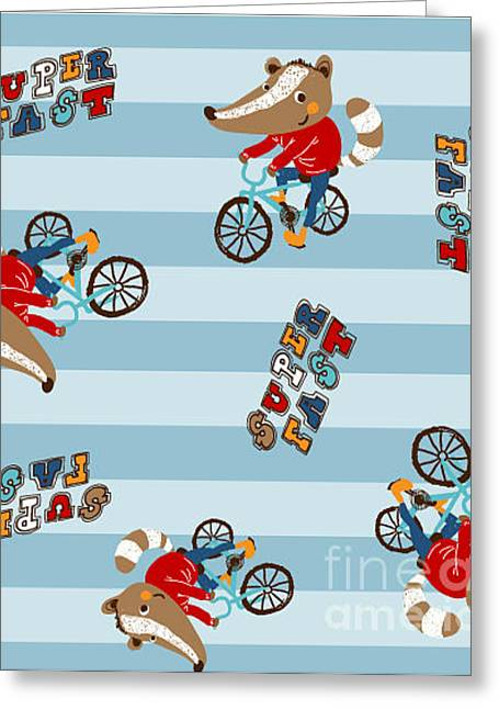 Cute Animal Riding A Bicycle. Vector Greeting Card