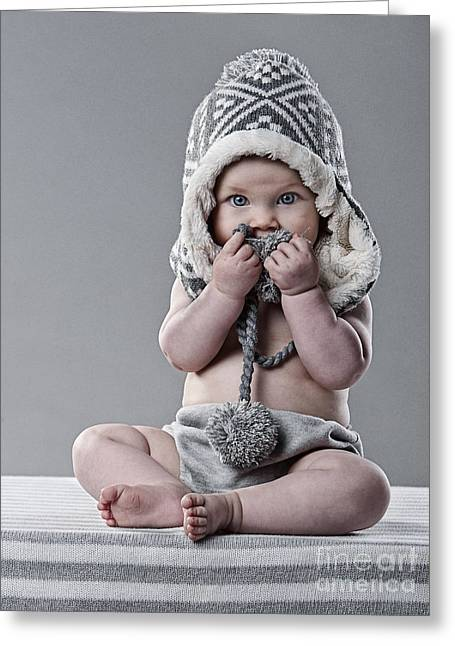 Cute Baby In Wool Hat Greeting Card by Justin Paget