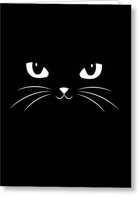 Cute Black Cat Greeting Card by Philipp Rietz