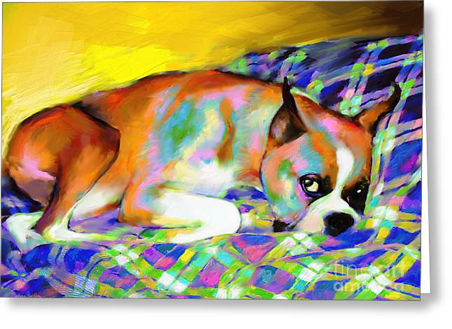 Cute Boxer Dog Portrait Painting Greeting Card by Svetlana Novikova