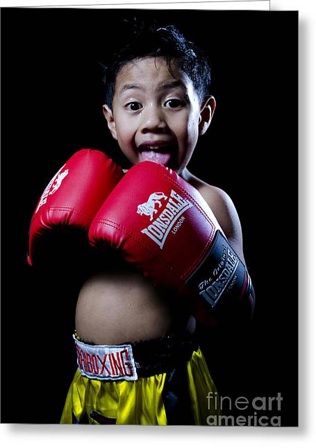 Cute Boxer Greeting Card by Mystique Asian