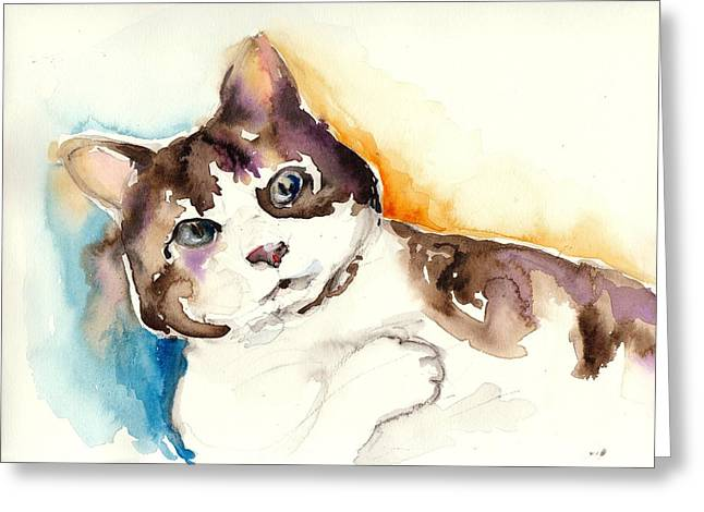 Cute Cat Watercolor Painting Greeting Card by Tiberiu Soos