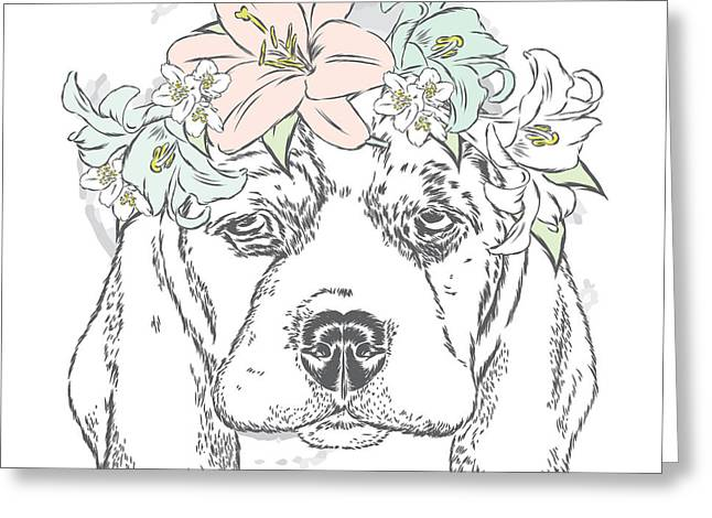 Cute Dog In A Wreath Of Roses . Vector Greeting Card