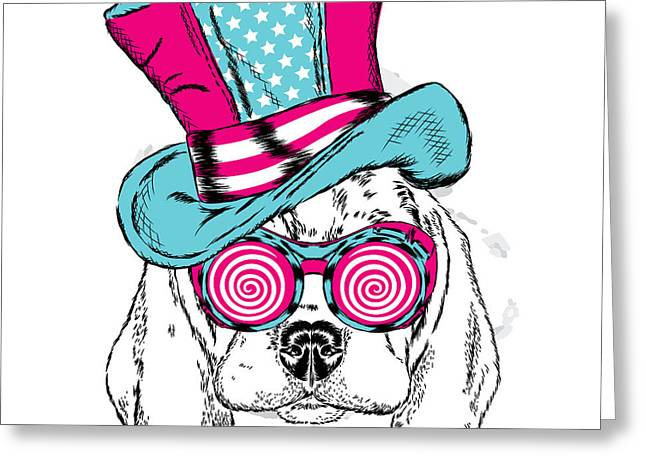 Cute Dog In An Unusual Hat . Vector Greeting Card by Vitaly Grin