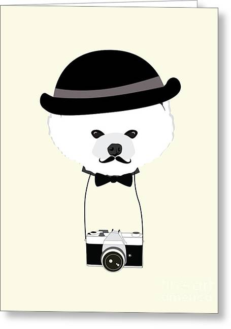 Cute Dog Photographer With Old Camera Greeting Card