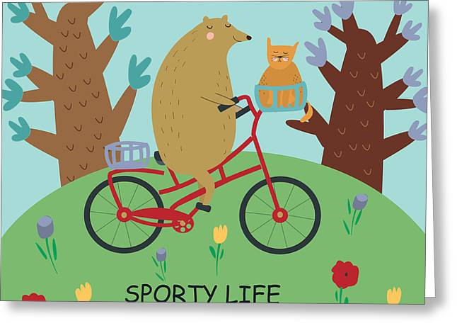 Cute Illustrations Of Bear Riding A Greeting Card by Kaliaha Volha