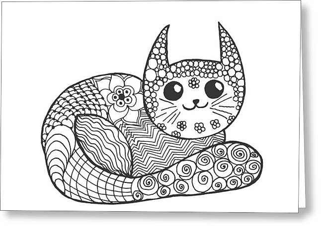 Cute Kitten. Black White Hand Drawn Greeting Card