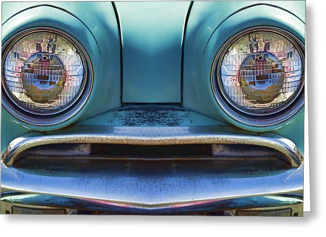 Cute Little Car Faces Number 1 Greeting Card