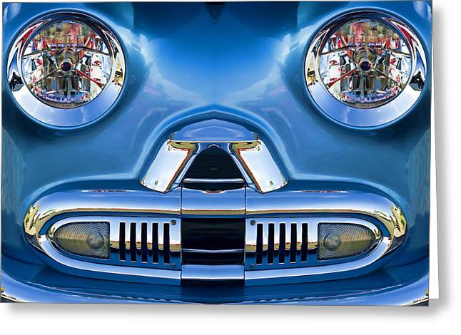 Cute Little Car Faces Number 2 Greeting Card