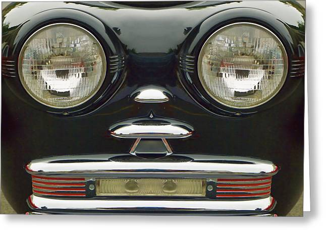 Cute Little Car Faces Number 6 Greeting Card