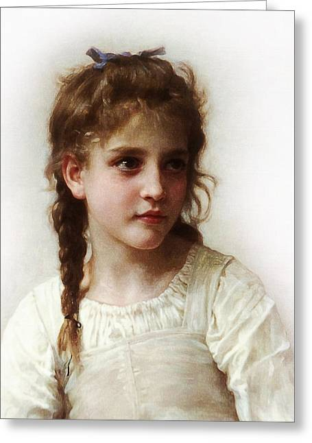 Cute Little Girl Greeting Card by Bouguereau