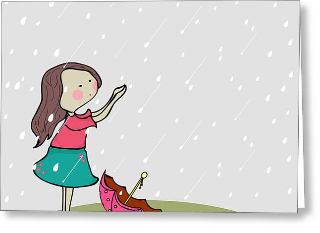 Cute Little Girl Enjoying Rains On Greeting Card