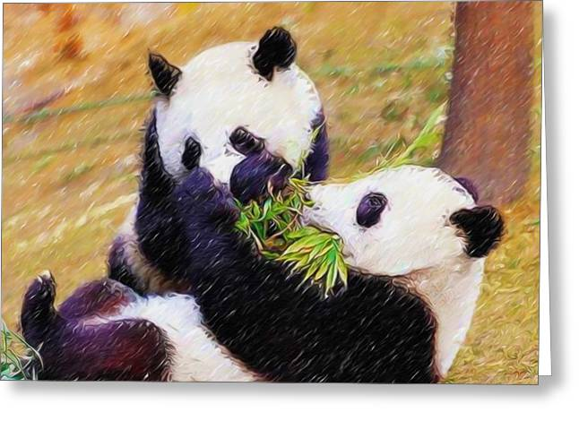 Greeting Card featuring the painting Cute Pandas Play Together by Lanjee Chee