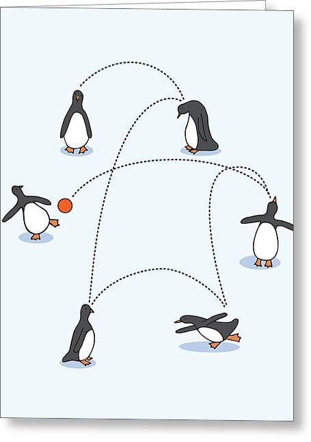 Cute Penguin Art Greeting Card by Christy Beckwith
