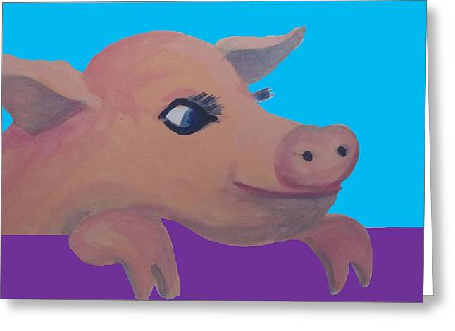 Cute Pig 1 Greeting Card by Cherie Sexsmith