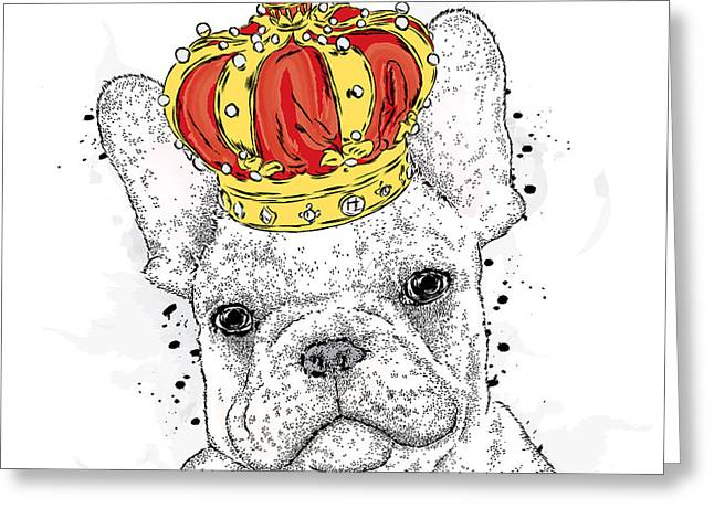Cute Puppy Wearing A Crown. French Greeting Card