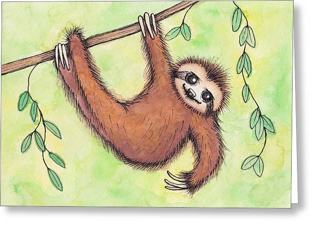 Sloth Greeting Card by Melissa Rohr Gindling