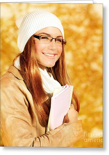 Cute Student Girl Greeting Card by Anna Omelchenko