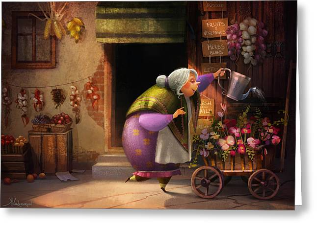 Cute Village Flower Shop Greeting Card by Kristina Vardazaryan
