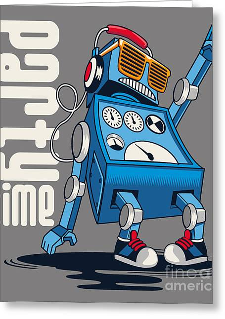 Cute Vintage Dancer Robot, Party, Vector Greeting Card