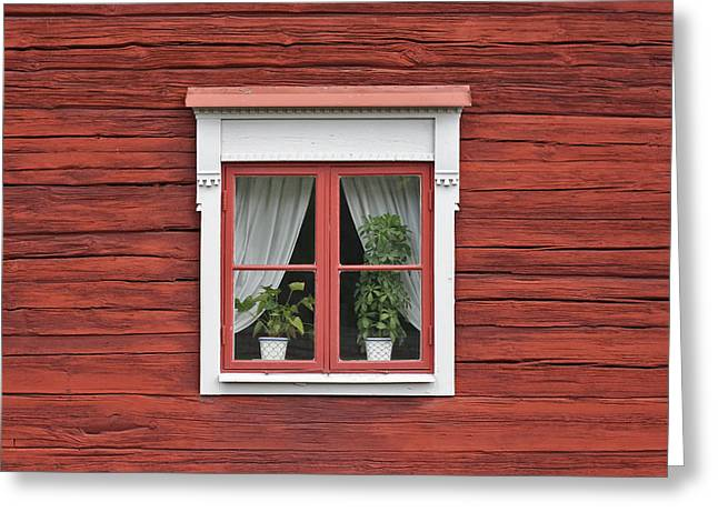 Cute Window On Red Wall Greeting Card