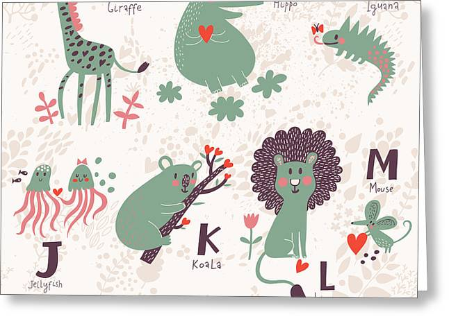 Cute Zoo Alphabet In Vector. G, H, I Greeting Card