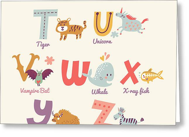 Cute Zoo Alphabet In Vector. T, U, V Greeting Card