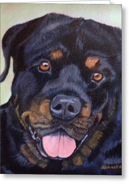 Greeting Card featuring the painting Cutter The Rottweiller by Sharon Schultz