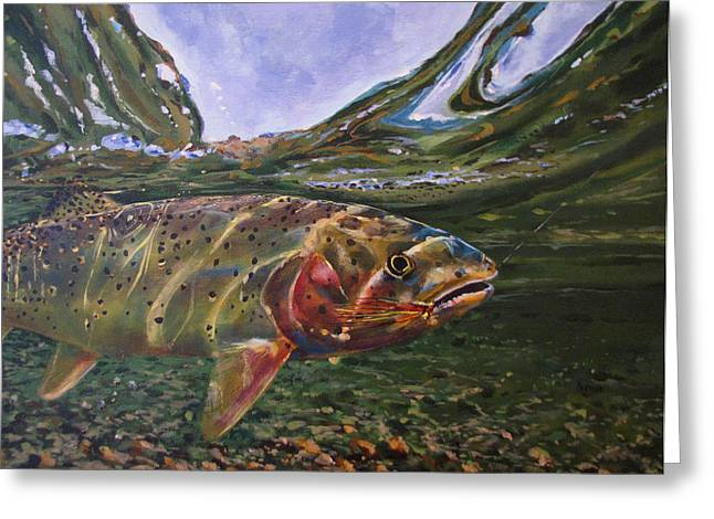 Cutthroat Hooked In The Ripple Greeting Card