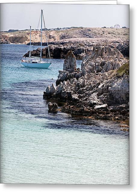 In Cala Pudent Menorca The Cutting Rocks In Contrast With Turquoise Sea Show Us An Awsome Place Greeting Card by Pedro Cardona