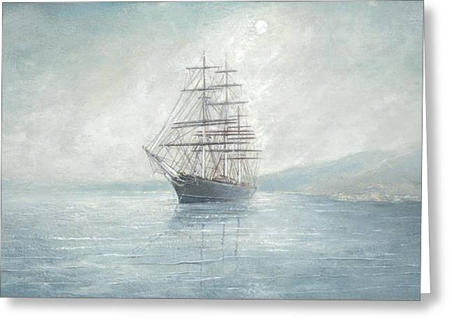 Cutty Sark Anchored Off The Coast Greeting Card by Eric Bellis