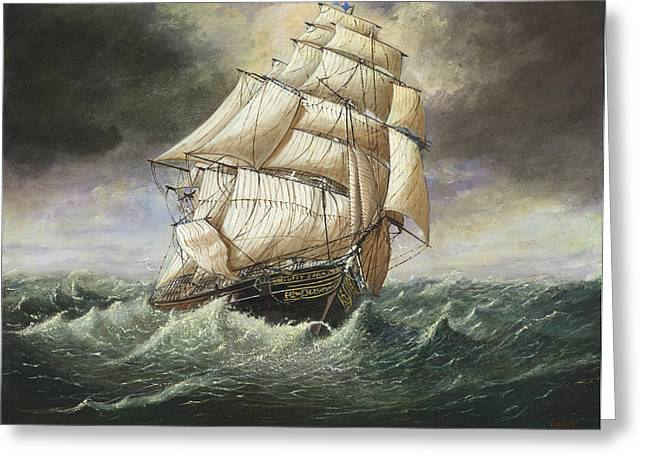 Cutty Sark Caught In A Squall Greeting Card by Eric Bellis