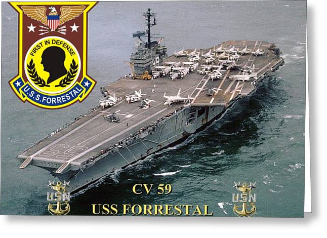 Cv-59 Uss Forrestal Greeting Card by Mil Merchant