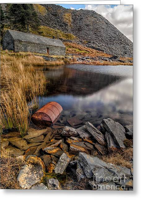 Cwmorthin Slate Quarry Greeting Card by Adrian Evans