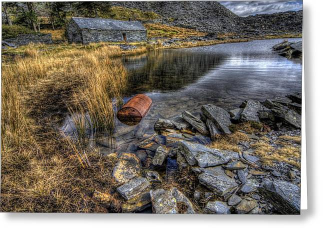 Cwmorthin Slate Quarry Greeting Card by Ian Mitchell