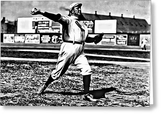 Cy Young Pitching Greeting Card by Florian Rodarte
