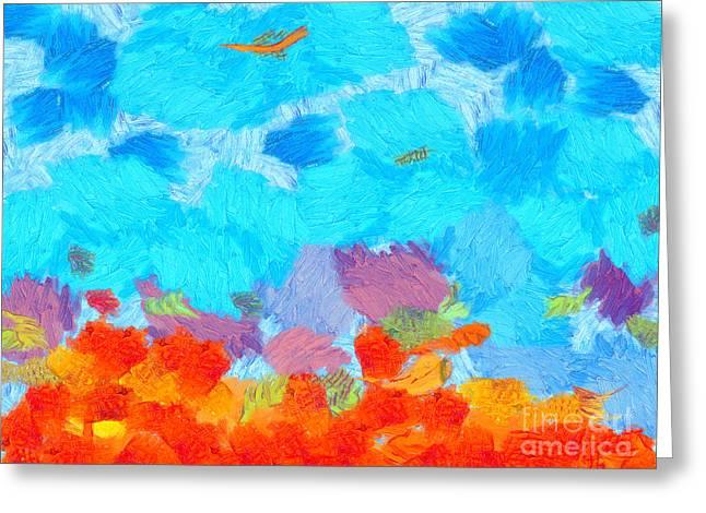 Cyan Landscape Greeting Card by Pixel Chimp