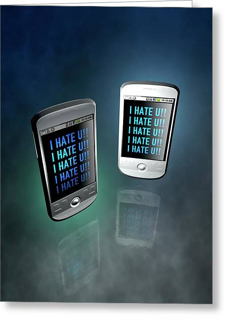 Cyber Bullying Greeting Card by Victor Habbick Visions
