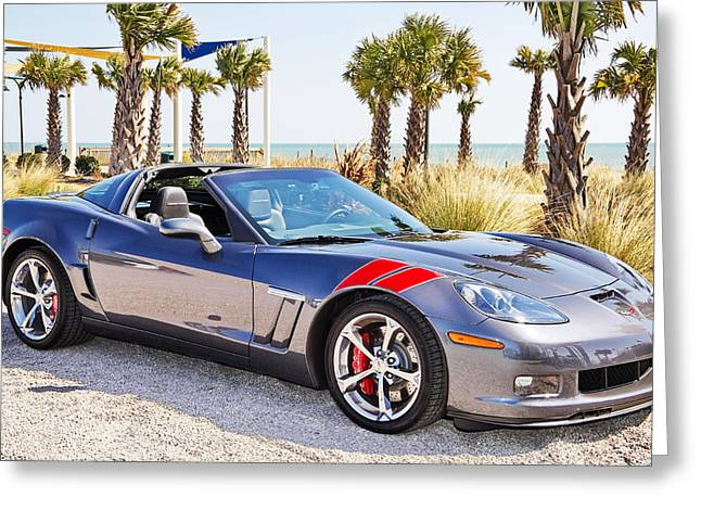 Cyber Gray Grand Sport Corvette At The Beach Greeting Card