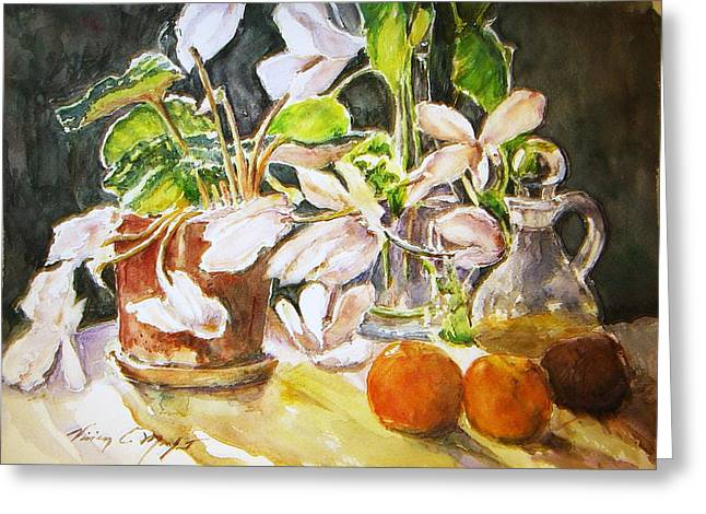Cyclamen With Tangerines And Kiwi Greeting Card by Vivian  Castillo M