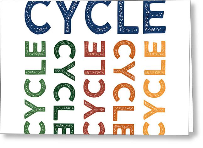 Cycle Cute Colorful Greeting Card by Flo Karp