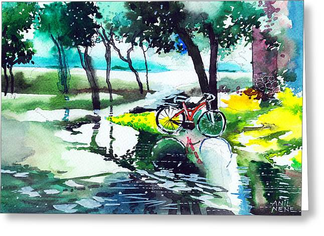 Cycle In The Puddle Greeting Card by Anil Nene