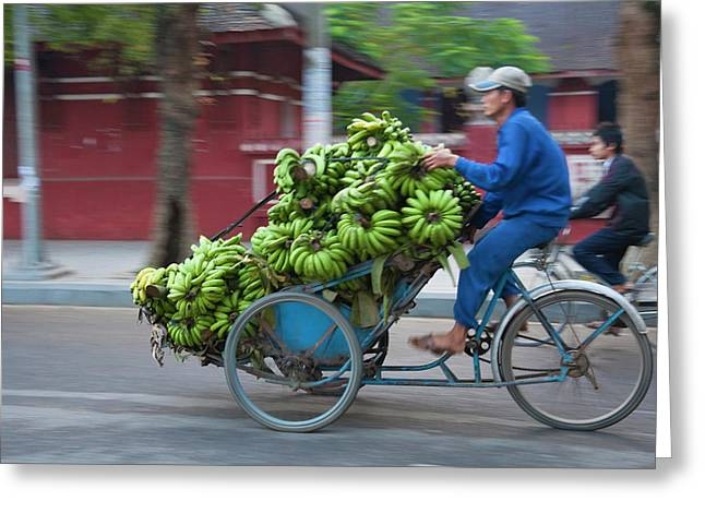 Cycle Loaded With Bananas Greeting Card by Keren Su