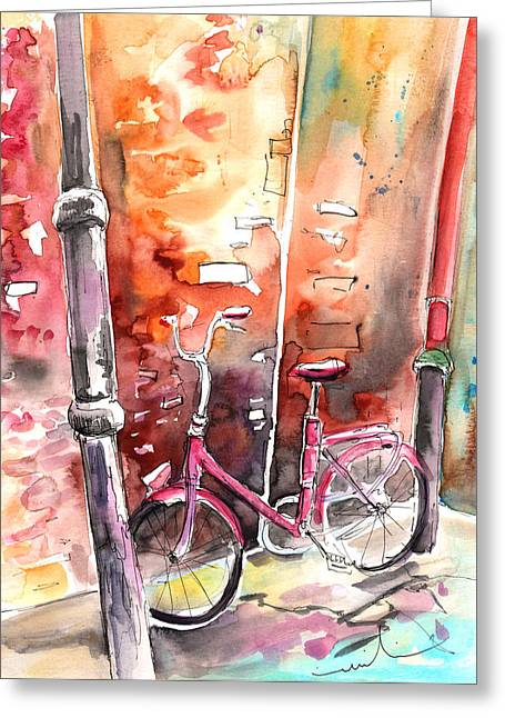 Cycling In Italy 02 Greeting Card by Miki De Goodaboom