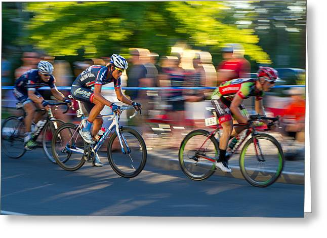 Greeting Card featuring the photograph Cycling Pursuit by Kevin Desrosiers