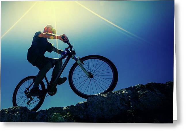 Cyclist On Bike Greeting Card by Wladimir Bulgar
