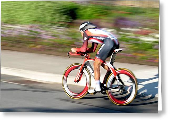 Greeting Card featuring the photograph Cyclist Time Trial by Kevin Desrosiers